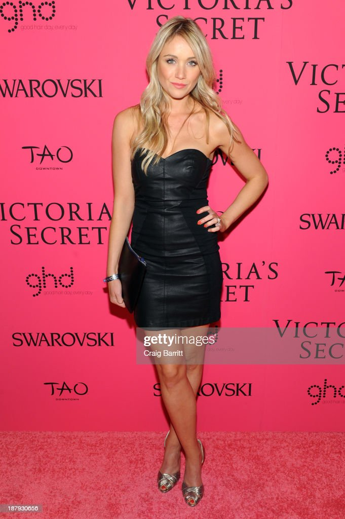 Actress <a gi-track='captionPersonalityLinkClicked' href=/galleries/search?phrase=Katrina+Bowden&family=editorial&specificpeople=4272761 ng-click='$event.stopPropagation()'>Katrina Bowden</a> attends the 2013 Victoria's Secret Fashion after party at TAO Downtown on November 13, 2013 in New York City.