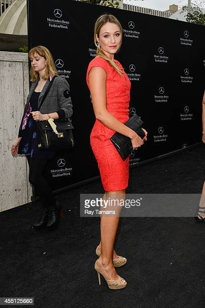 Actress Katrina Bowden enters the MercedesBenz Fashion Week at Lincoln Center for the Performing Arts on September 9 2014 in New York City