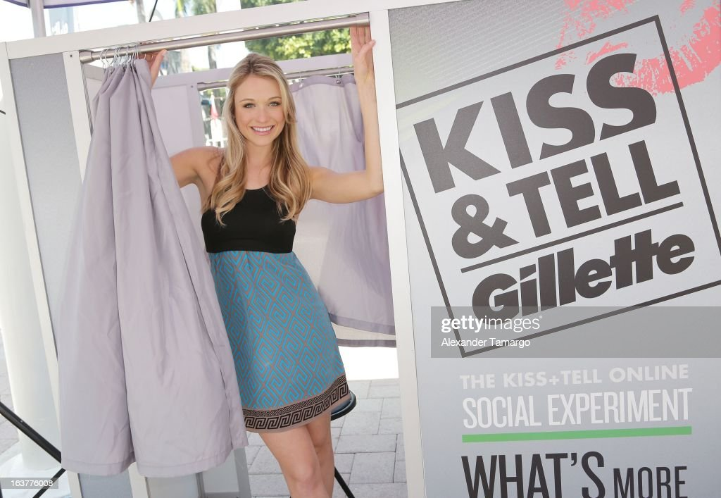 Actress Katrina Bowden helps guys stay smooth shaven as she kicks off the Gillette K.I.S.S. Spring Break tour in Miami at Bayside Marketplace on March 15, 2013 in Miami, Florida.