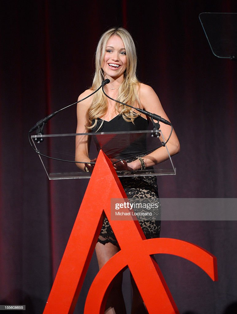 Actress <a gi-track='captionPersonalityLinkClicked' href=/galleries/search?phrase=Katrina+Bowden&family=editorial&specificpeople=4272761 ng-click='$event.stopPropagation()'>Katrina Bowden</a> presents the award for Retail Innovation of the Year at the 16th Annual ACE Awards presented by the Accessories Council at Cipriani 42nd Street on November 5, 2012 in New York City.