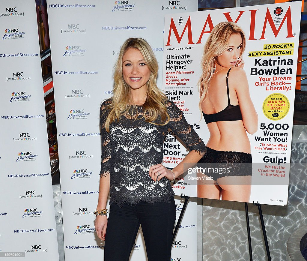 Actress <a gi-track='captionPersonalityLinkClicked' href=/galleries/search?phrase=Katrina+Bowden&family=editorial&specificpeople=4272761 ng-click='$event.stopPropagation()'>Katrina Bowden</a> Signs Copies Of Her Maxim Cover Issue at NBC Experience Store on January 18, 2013 in New York City.
