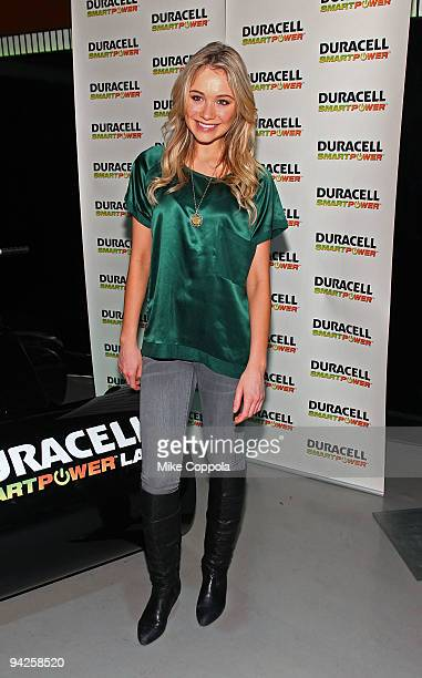 Actress Katrina Bowden visits the Duracell Smart Power Lab in Times Square on December 10 2009 in New York City