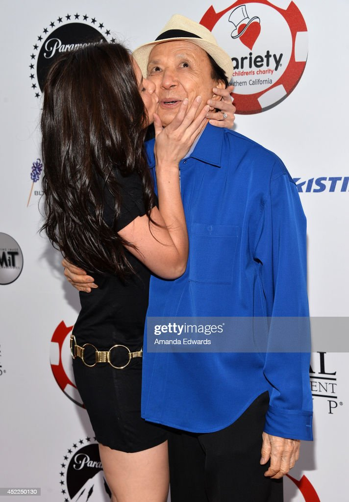 Actress Katrina Law (L) and actor James Hong arrive at the 4th Annual Variety - The Children's Charity of Southern CA Texas Hold 'Em Poker Tournament at Paramount Studios on July 16, 2014 in Hollywood, California.