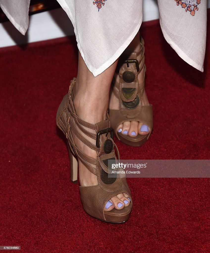 Actress Katrina Law, shoe detail, arrives at the opening of 'Cabaret' at the Hollywood Pantages Theatre on July 20, 2016 in Hollywood, California.