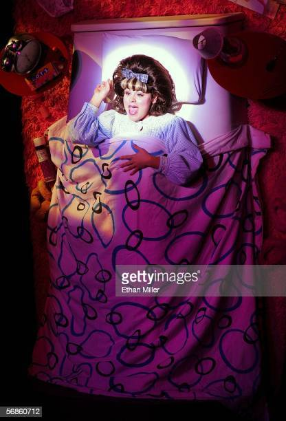 Actress Katrina Rose Dideriksen as the character Tracy Turnblad performs during the opening night of the Broadway musical 'Hairspray' at the Luxor...