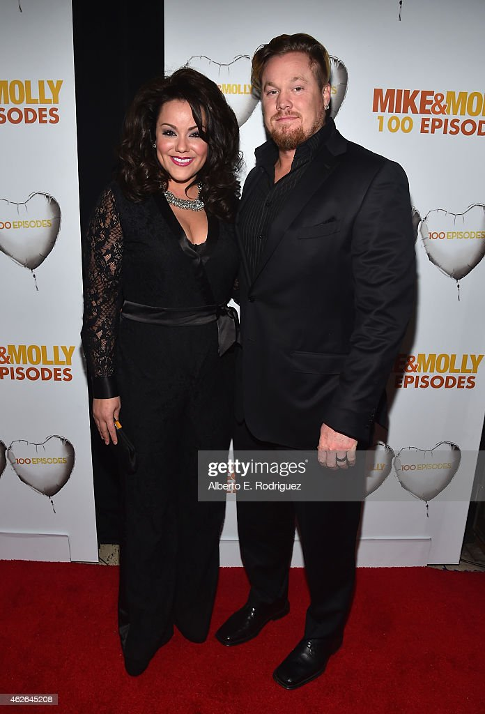 Actress Katy Mixon and Breaux Greer attend CBS's 'Mike & Molly' 100th Episode celebration at Cicada on January 31, 2015 in Los Angeles, California.