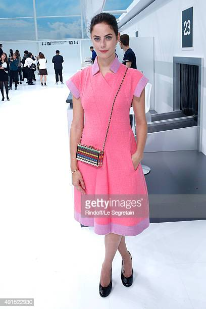 Actress Kaya Scodelario attends the Chanel show as part of the Paris Fashion Week Womenswear Spring/Summer 2016 Held at Grand Palais on October 6...