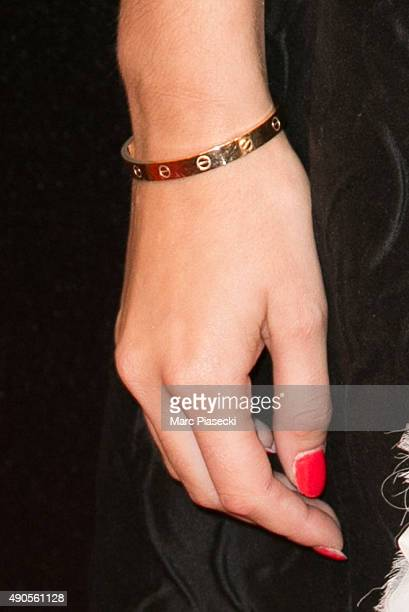 Actress Kaya Scodelario bracelet detail attends the 'Maze Runner Scorch Trials Le Labyrinthe la terre brulee' Premiere at Le Grand Rex on September...