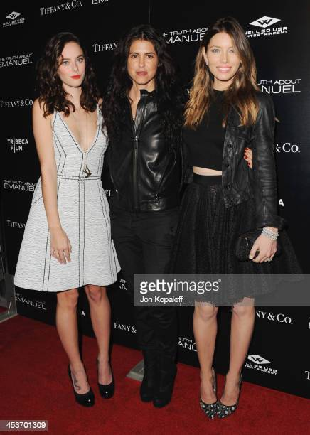 Actress Kaya Scodelario director Francesca Gregorini and actress Jessica Biel arrive at the Los Angeles Premiere 'The Truth About Emanuel' at...