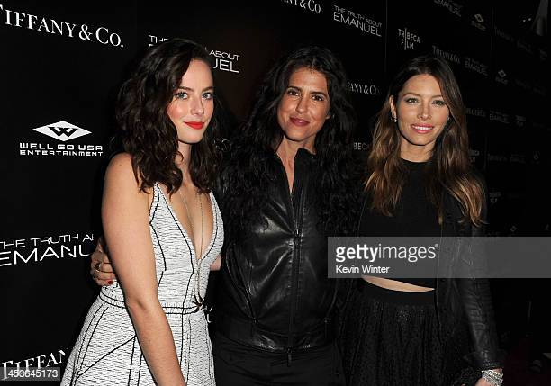 Actress Kaya Scodelario director/writer Francesca Gregorini and actress Jessica Biel arrive at the premiere of Tribeca Film and Well Go USA's 'The...