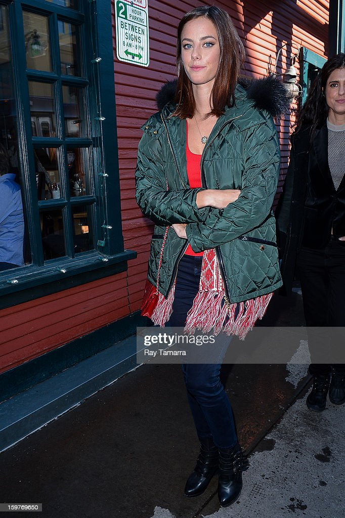 Actress Kaya Scodelario leaves the Nikki Beach Lounge at the Sky Lodge on January 19, 2013 in Park City, Utah.