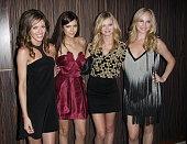 Actress Kayla Ewell Nina Dobreu Sara Paxton and Candice Accola arrive for the A Beautiful Life And The Vampire Diaries Kick Off Party at Liv...