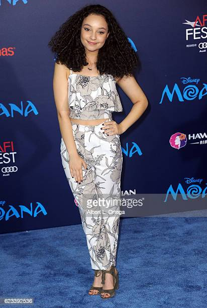 Actress Kayla Maisonet arrives for the AFI FEST 2016 Presented By Audi Premiere Of Disney's 'Moana' held at the El Capitan Theatre on November 14...