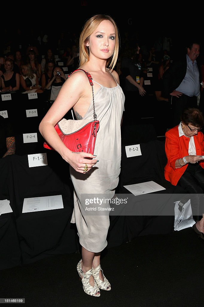 Actress <a gi-track='captionPersonalityLinkClicked' href=/galleries/search?phrase=Kaylee+DeFer&family=editorial&specificpeople=599527 ng-click='$event.stopPropagation()'>Kaylee DeFer</a> attends the Rebecca Minkoff Spring 2013 fashion show for TRESemme during Mercedes-Benz Fashion Week at The Theater at Lincoln Center on September 7, 2012 in New York City.