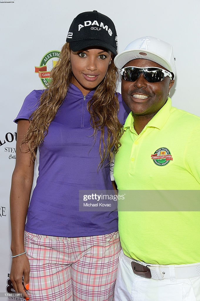 Actress K.D. Aubert (L) and comedian Alex Thomas attend The 4th annual Alex Thomas Celebrity Golf Classic presented by Belvedere at Mountain Gate Country Club on July 15, 2013 in Los Angeles, California.