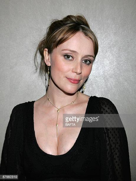 Actress Keeley Hawes leaves the stage having presented the award for Best Actor at the Pioneer British Academy Television Awards 2006 at the...