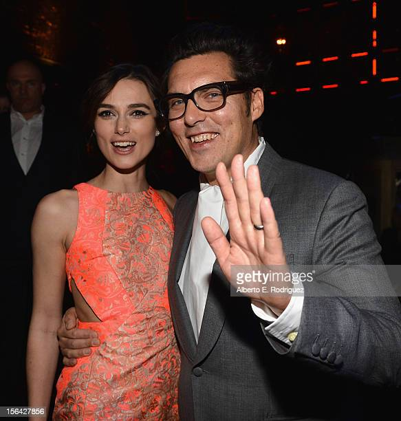 Actress Keira Knightley and director Joe Wright attend the after party for Focus Features' 'Anna Karenina' at Greystone Manor on November 14 2012 in...
