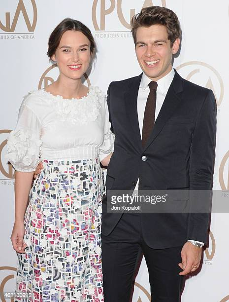 Actress Keira Knightley and husband James Righton arrive at the 26th Annual PGA Awards at the Hyatt Regency Century Plaza on January 24 2015 in Los...