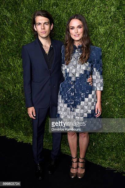 Actress Keira Knightley and James Righton attend the CHANEL Fine Jewelry Dinner in honor of Keira Knightley at The Jewel Box Bergdorf Goodman on...