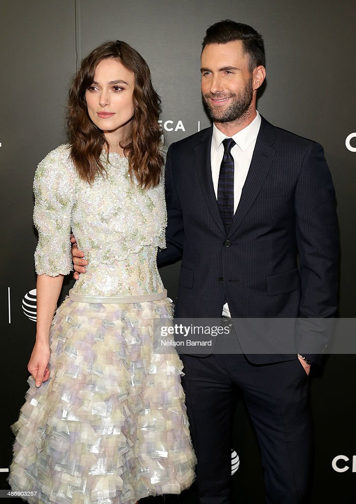 "Actress Keira Knightley (L) and musician Adam Levine attend the 2014 Tribeca Film Festival closing night film ""Begin Again"" hosted by CHANEL at BMCC Tribeca PAC on April 26, 2014 in New York City."