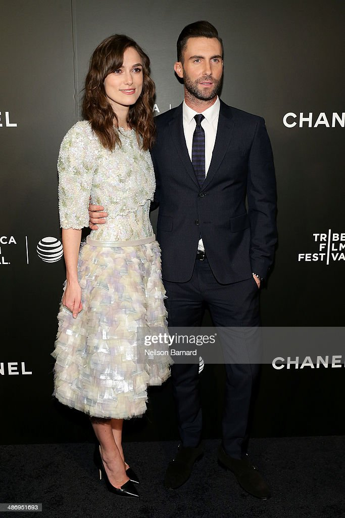 "Actress Keira Knightley and musician Adam Levine attend the 2014 Tribeca Film Festival closing night film ""Begin Again"" hosted by CHANEL at BMCC..."