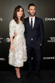 """Actress Keira Knightley and musician Adam Levine attend the 2014 Tribeca Film Festival closing night film """"Begin Again"""" hosted by CHANEL at BMCC..."""