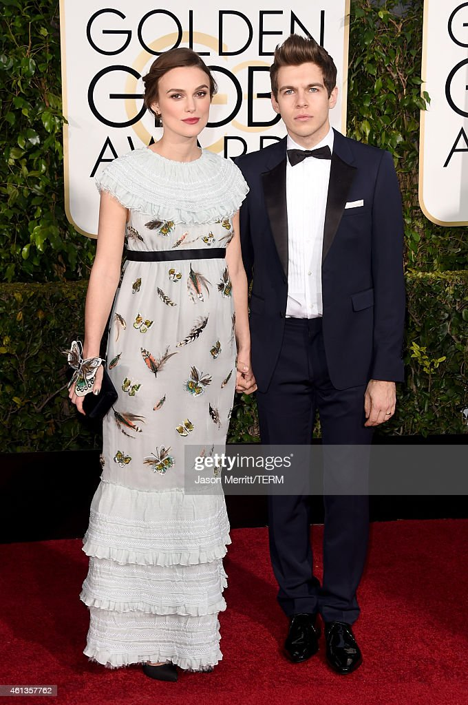 Actress Keira Knightley and musician James Righton attend the 72nd Annual Golden Globe Awards at The Beverly Hilton Hotel on January 11 2015 in...