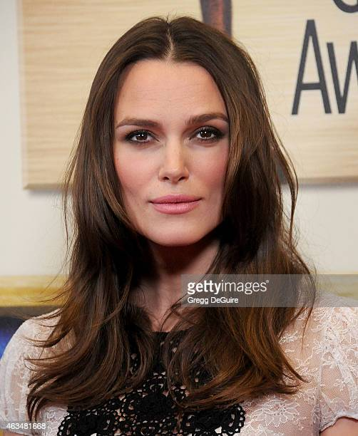 Actress Keira Knightley arrives at the 2015 Writers Guild Awards LA Ceremony at the Hyatt Regency Century Plaza on February 14 2015 in Los Angeles...