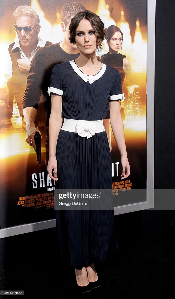 Actress Keira Knightley arrives at the Los Angeles premiere of 'Jack Ryan: Shadow Recruit' at TCL Chinese Theatre on January 15, 2014 in Hollywood, California.