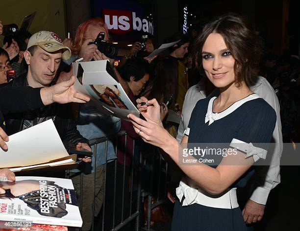 Actress Keira Knightley arrives at the premiere of Paramount Pictures' 'Jack Ryan Shadow Recruit' at TCL Chinese Theatre on January 15 2014 in...