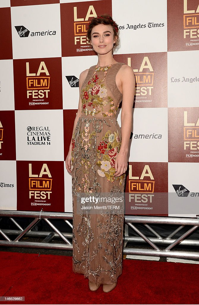 Actress <a gi-track='captionPersonalityLinkClicked' href=/galleries/search?phrase=Keira+Knightley&family=editorial&specificpeople=202053 ng-click='$event.stopPropagation()'>Keira Knightley</a> arrives at the premiere of 'Seeking a Friend for the End of the World' at the 2012 Los Angeles Film Festival held at Regal Cinemas L.A. Live on June 18, 2012 in Los Angeles, California.