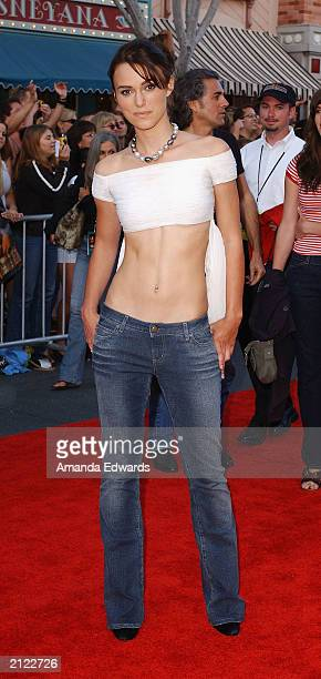 Actress Keira Knightley arrives at the World Premiere of 'Pirates of the Caribbean The Curse of the Black Pearl' on June 28 2003 at Disneyland in...