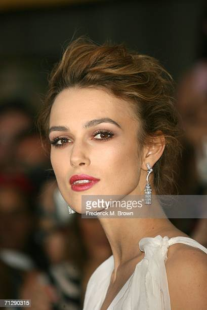 Actress Keira Knightley arrives at the world premiere of 'Pirates of the Caribbean 2 Dead Man's Chest' held at Disneyland on June 24 2006 in Anaheim...