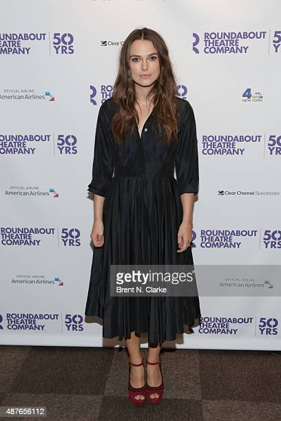Actress Keira Knightley arrives for Roundabout's 50th anniversary season party held at the Roundabout Theatre Company on September 10 2015 in New...