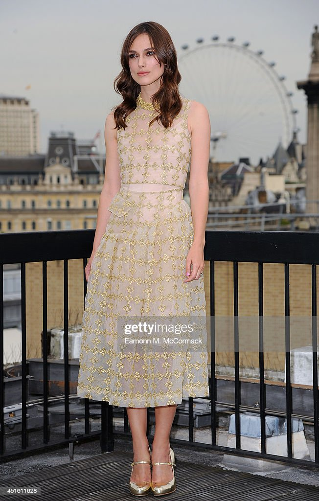 Actress Keira Knightley attends a photocall for 'Begin Again' on July 2, 2014 in London, England.