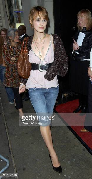 Actress Keira Knightley attends Screening of 'The Jacket' at the Rex Cinema and bar on May 9 2005 in London England