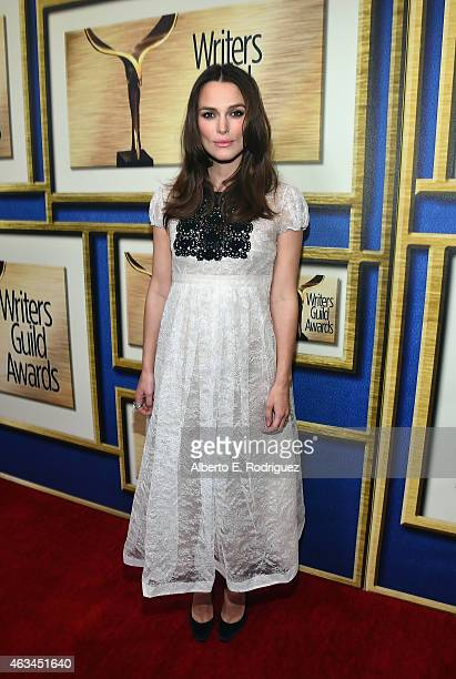 Actress Keira Knightley attends the 2015 Writers Guild Awards LA Ceremony at the Hyatt Regency Century Plaza on February 14 2015 in Century City...