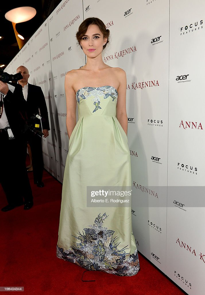 Actress <a gi-track='captionPersonalityLinkClicked' href=/galleries/search?phrase=Keira+Knightley&family=editorial&specificpeople=202053 ng-click='$event.stopPropagation()'>Keira Knightley</a> attends the 'Anna Karenina' Los Angeles Premiere held at ArcLight Hollywood on November 14, 2012 in Hollywood, California.
