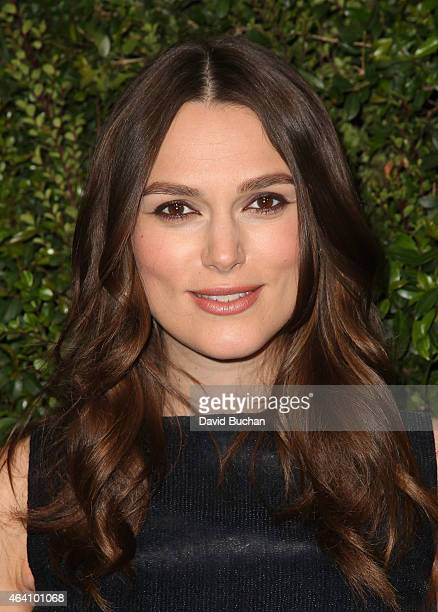 Actress Keira Knightley attends the Chanel and Charles Finch PreOscar Dinner at Madeo Restaurant on February 21 2015 in Los Angeles California