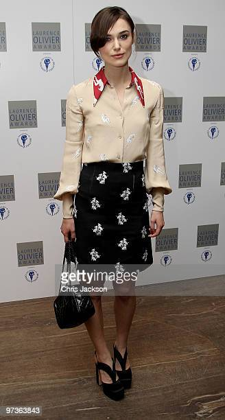 Actress Keira Knightley attends the Laurence Olivier Awards Nominee Luncheon Party at the Haymarket Hotel on March 2 2010 in London England