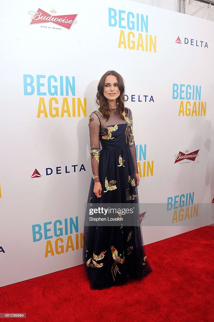 Actress <a gi-track='captionPersonalityLinkClicked' href=/galleries/search?phrase=Keira+Knightley&family=editorial&specificpeople=202053 ng-click='$event.stopPropagation()'>Keira Knightley</a> attends the New York premiere of the Weinstein company's BEGIN AGAIN, sponsored by Delta Airlines and Budweiser at SVA Theater on June 25, 2014 in New York City.