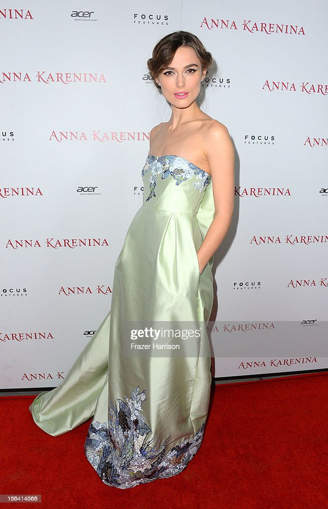 Actress <a gi-track='captionPersonalityLinkClicked' href=/galleries/search?phrase=Keira+Knightley&family=editorial&specificpeople=202053 ng-click='$event.stopPropagation()'>Keira Knightley</a> attends the premiere of Focus Features' 'Anna Karenina' held at ArcLight Cinemas on November 14, 2012 in Hollywood, California.