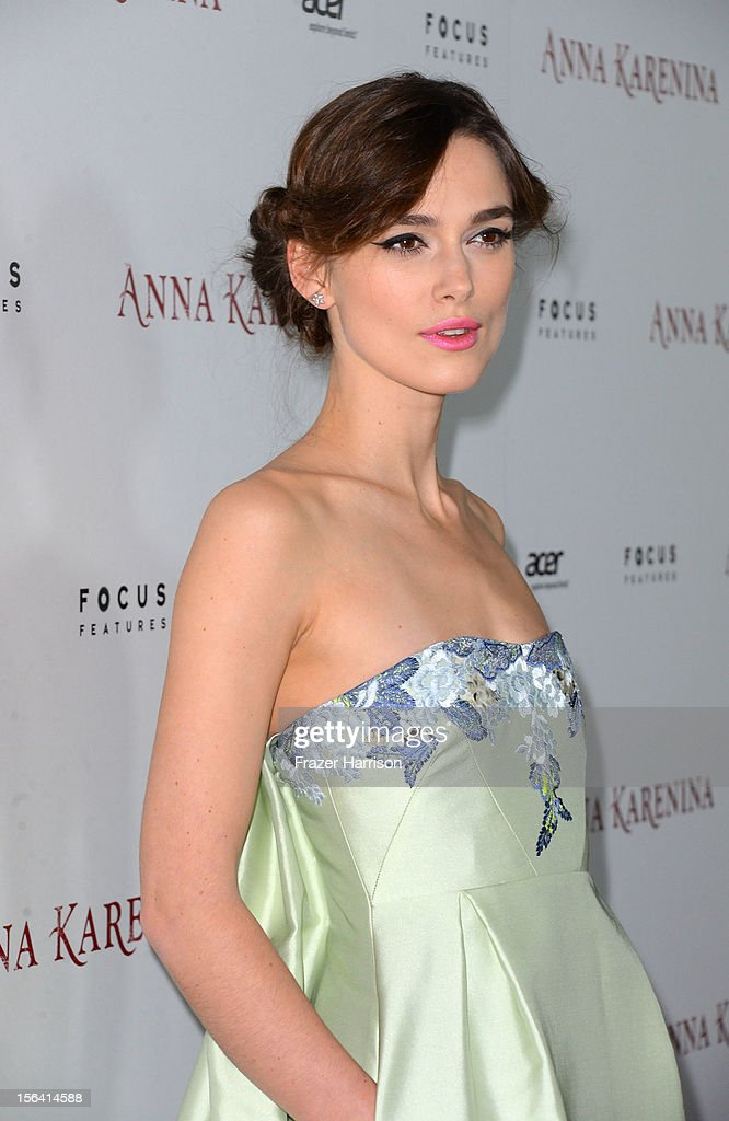 Actress Keira Knightley attends the premiere of Focus Features' 'Anna Karenina' held at ArcLight Cinemas on November 14, 2012 in Hollywood, California.