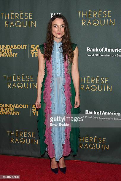 Actress Keira Knightley attends the Roundabout Theatre Company's Broadway opening night of Therese Raquin CoSponsored by FIJI Water on October 29...