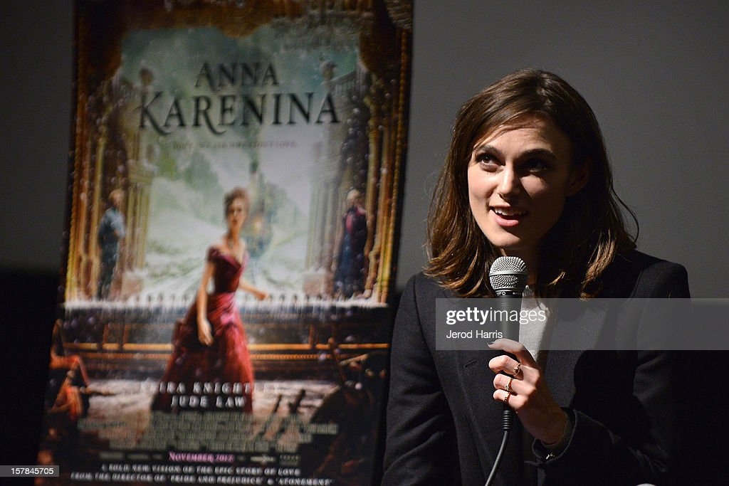 Actress <a gi-track='captionPersonalityLinkClicked' href=/galleries/search?phrase=Keira+Knightley&family=editorial&specificpeople=202053 ng-click='$event.stopPropagation()'>Keira Knightley</a> participates in a Q&A session following TheWrap's Awards Season Screening Series of 'Anna Karenina' on December 6, 2012 in Los Angeles, California.