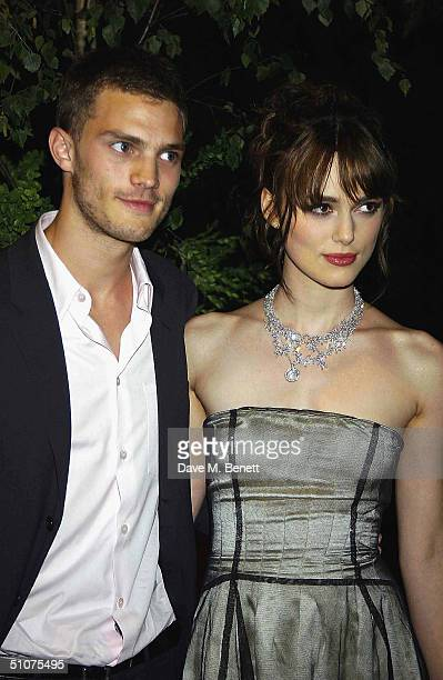Actress Keira Knightley with her boyfriend Jamie Dornan attend the after party following the European Premiere of 'King Arthur' at the Guildhall on...