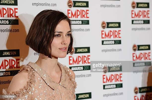 Actress Keira Knightley with the Empire Hero Award presented by Jameson Irish Whiskey during the Jameson Empire Awards held at Grosvenor House Hotel...