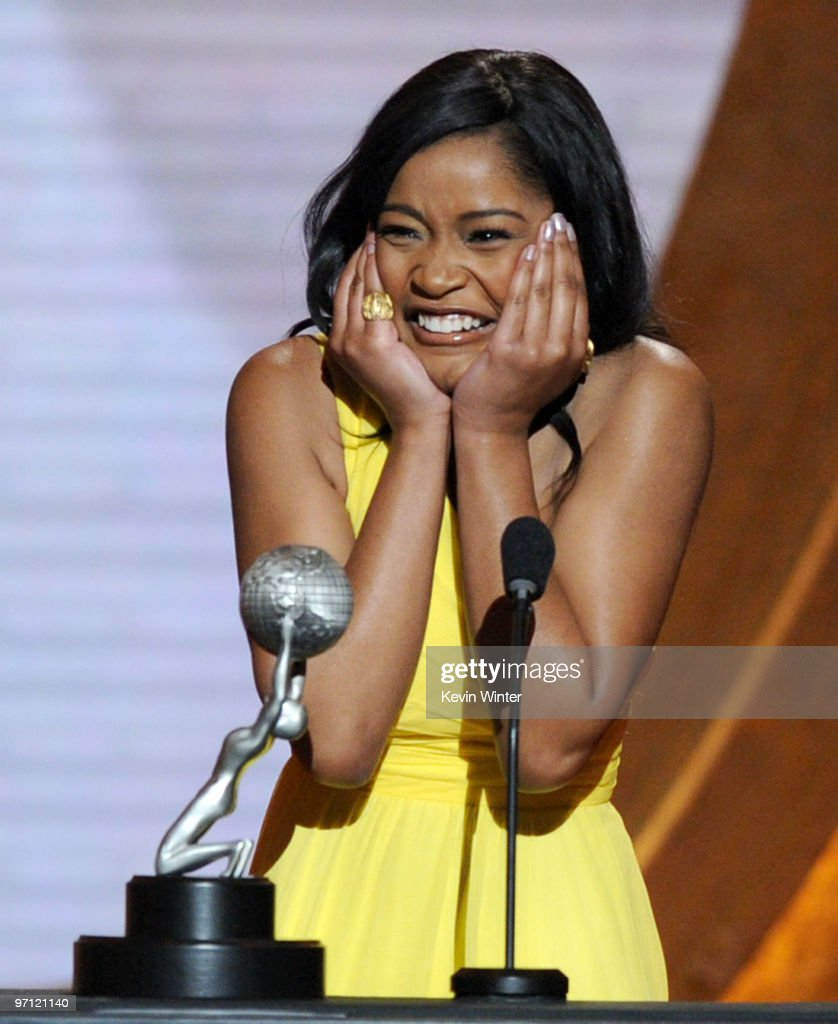 Actress <a gi-track='captionPersonalityLinkClicked' href=/galleries/search?phrase=Keke+Palmer&family=editorial&specificpeople=653121 ng-click='$event.stopPropagation()'>Keke Palmer</a> accepts the Outstanding Performance In A Youth/Children's Program award onstage during the 41st NAACP Image awards held at The Shrine Auditorium on February 26, 2010 in Los Angeles, California.
