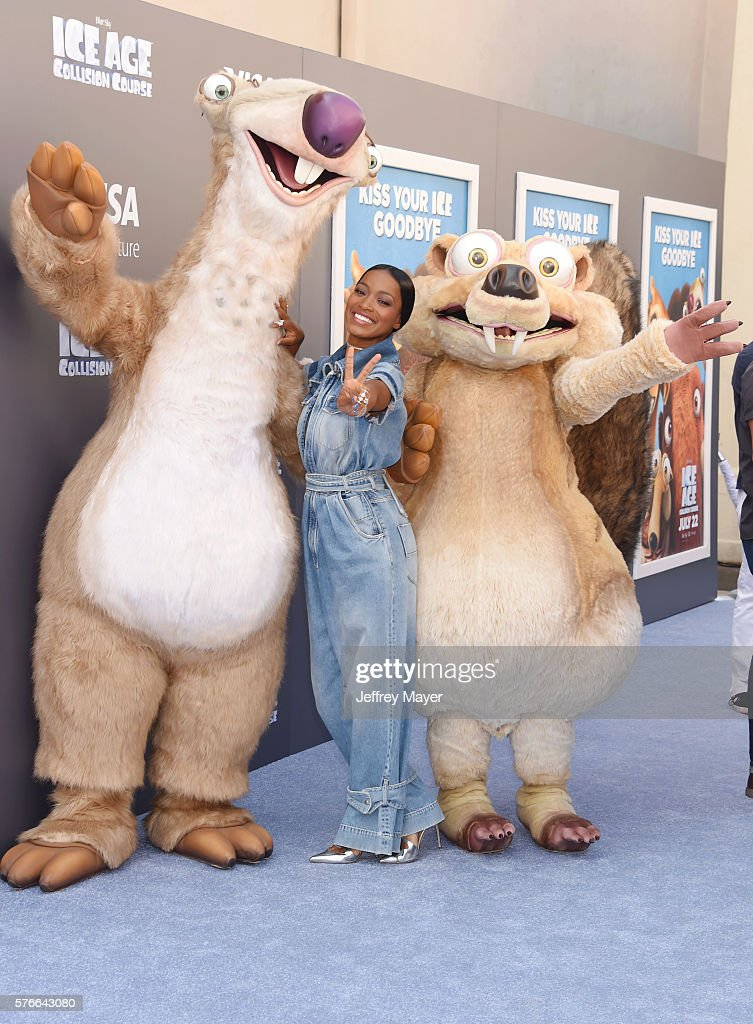 Actress Keke Palmer and characters attend a screening of 'Ice Age Collision Course' at Zanuck Theater at 20th Century Fox Lot on July 16 2016 in Los...