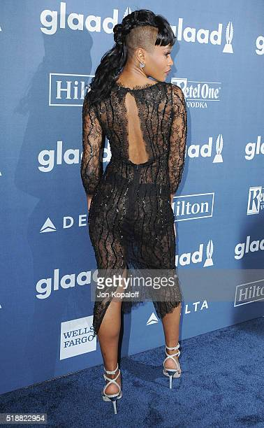 Actress Keke Palmer arrives at the 27th Annual GLAAD Media Awards at The Beverly Hilton Hotel on April 2 2016 in Beverly Hills California